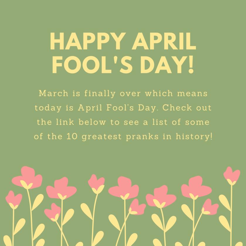 April Fool's Day blog